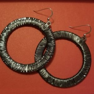 Gun Metal Circle Earrings